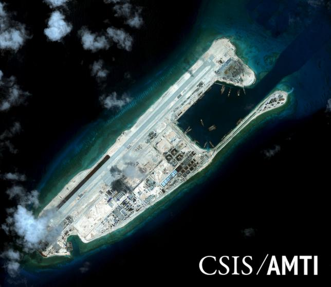 Fiery Cross reef, located in the disputed Spratly Islands in the South China Sea, is shown in this handout CSIS Asia Maritime Transparency Initiative satellite image